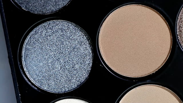 set of cosmetic eye shadow close-up video