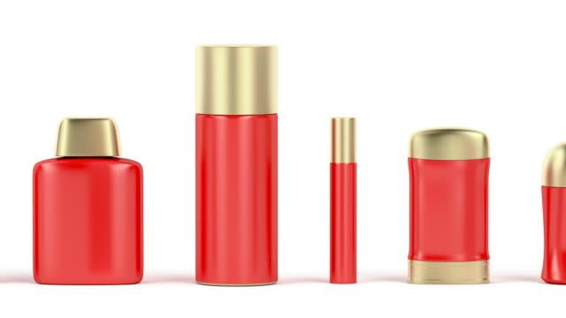 vídeos de stock, filmes e b-roll de conjunto de produtos cosméticos - garrafa
