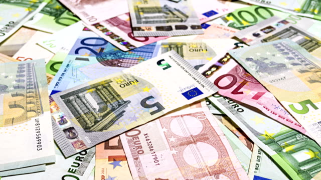 Set of euro banknotes video