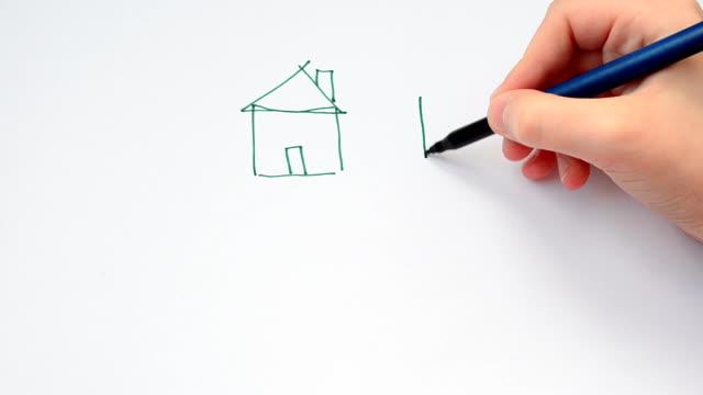 vídeos de stock, filmes e b-roll de conjunto de casas desenhadas à mão - clipe