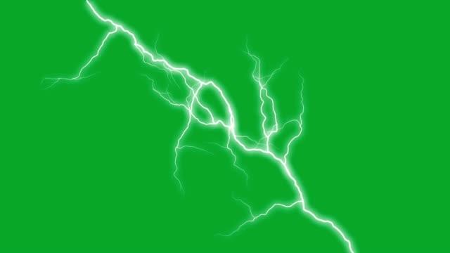 set von blitzeinschlägen auf dem grünen bildschirm - gewitter stock-videos und b-roll-filmmaterial