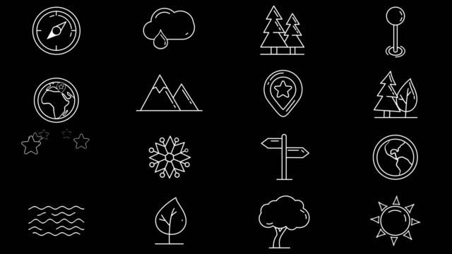 vidéos et rushes de ensemble d'icônes de la carte, des objets naturels - épingle