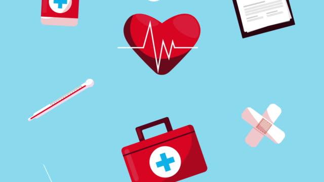 set of medical icons animation
