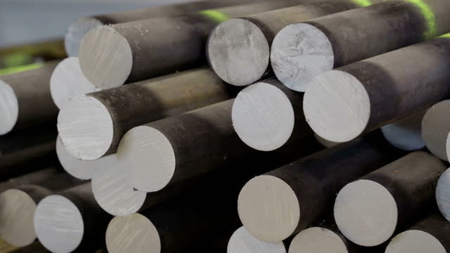 set of metal tubes to be produced in the factory - lega metallica video stock e b–roll