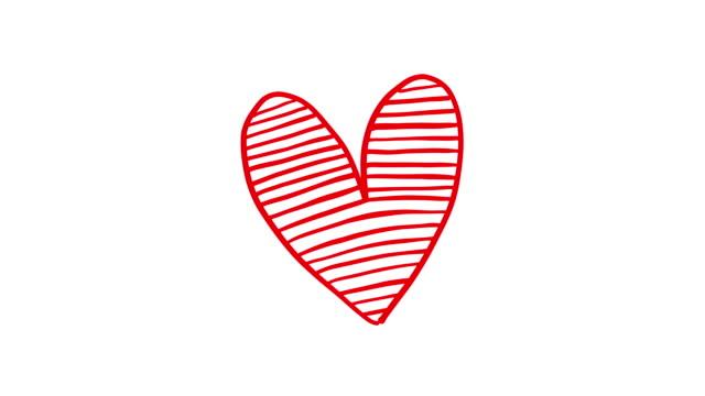 zestaw czerwonego ręcznie rysowanego serca w stylu. - doodles filmów i materiałów b-roll