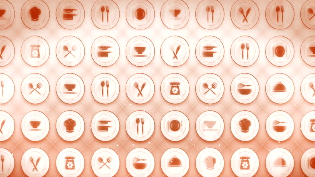 set of restaurant icons, restaurant cookware background, cg loop animation, - icona posate video stock e b–roll