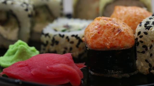 set of sushi, rolls, Japanese cuisine, ginger, wasabi
