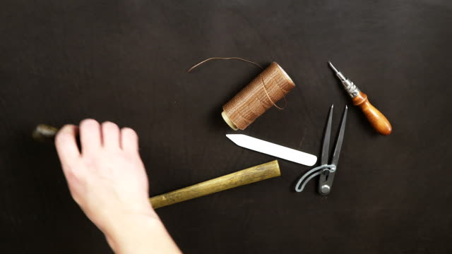 A set of tools for working with natural leather video