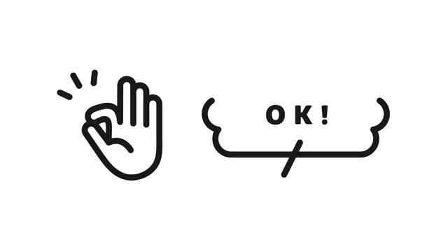 vídeos de stock e filmes b-roll de a set of various animations of hand icons. the hand icons indicate good, ng, point, bye, ok, etc. - enfeitado