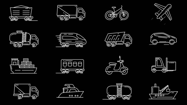 set of vehicles icons - icons стоковые видео и кадры b-roll