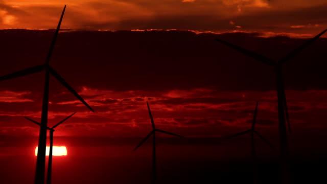 Set of wind generators against dawn - HD