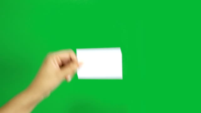 4K. set of woman hand showing blank white business name card paper isolated on chroma key green screen background