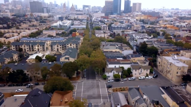 seven sisters houses in San Francisco Aerial view of the seven sisters houses in San Francisco called Painted Ladies victorian architecture stock videos & royalty-free footage