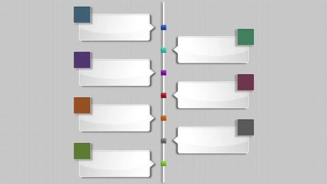 sieben square intro title box chart, powerpoint-präsentation der vorlage. - flussdiagramm stock-videos und b-roll-filmmaterial