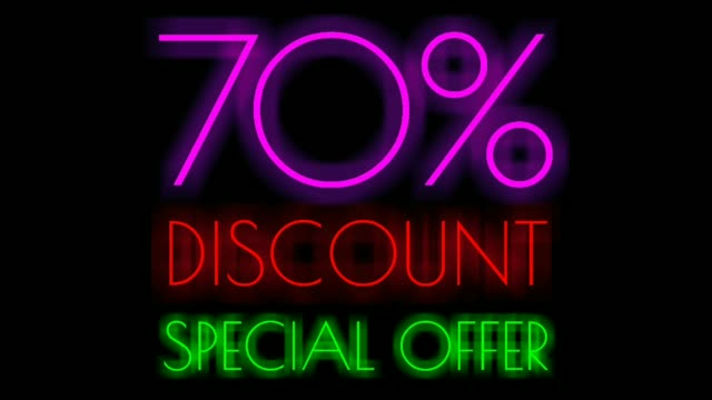 Seventy Percent Discount Neon Sign on Black Background, Special Offer Neon in purple and red color ,Sale Up to 70% Off, Special Offer advertising for store or bar Seventy Percent Discount Neon Sign on Black Background, Special Offer Neon in purple and red color ,Sale Up to 70% Off, Special Offer advertising for store or bar double refraction stock videos & royalty-free footage