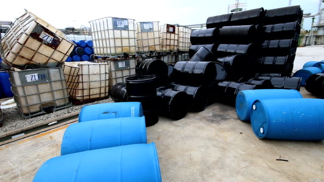 Several barrels of chemical at storage yard video