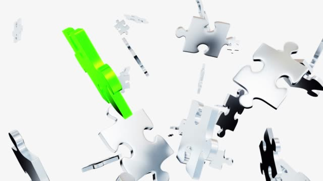 Several Chaotic Grey Puzzle pieces scattered and one big green piece