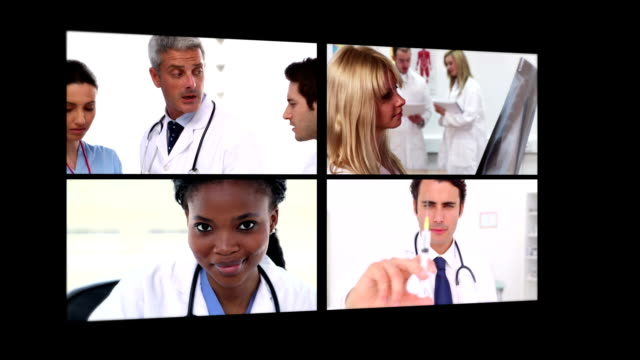 Several different short clips showing doctors Several different short clips showing doctors ending with black background short length stock videos & royalty-free footage