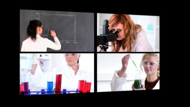 Several different short clips showing lab assistants video