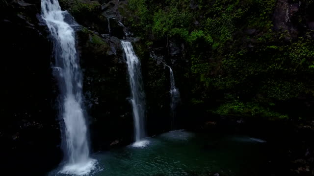 Several Hidden Waterfalls by Drone on Maui Island