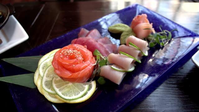 Several shots of sushi and sashimi video