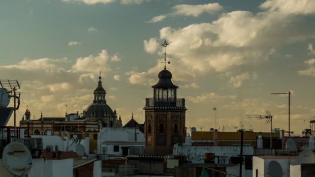 seville rooftop view timelapse with clouds and old buildings video
