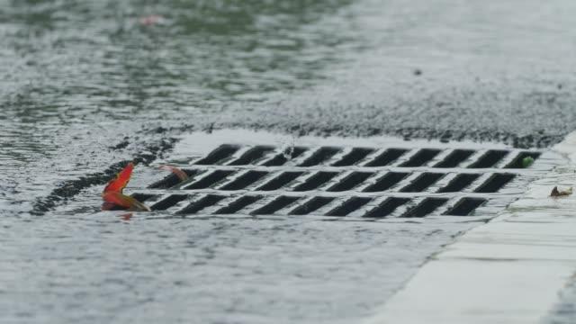 Sewer in rain day