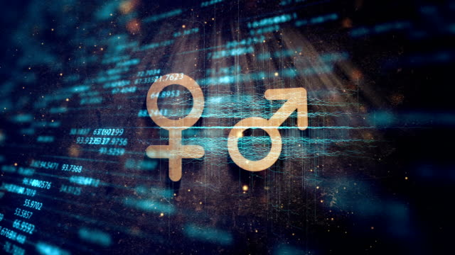 Sex concept, male and female symbol in digital technological environment