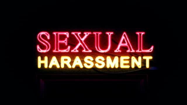 Sexual Harassment Neon Sign Turning On And Off video