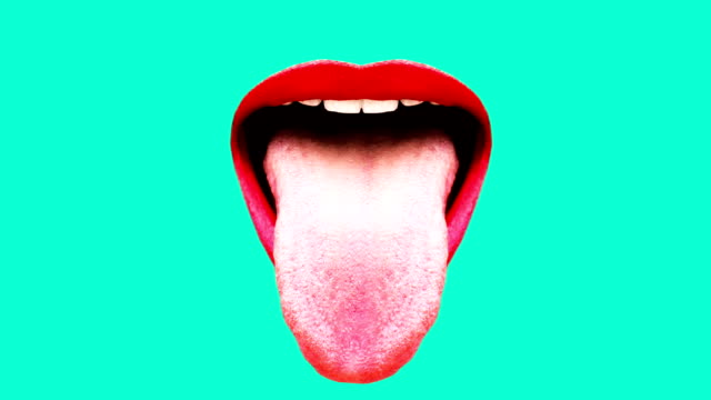 sexual mouth in abstraction. red lips fashion minimal pop art - lingua bocca video stock e b–roll