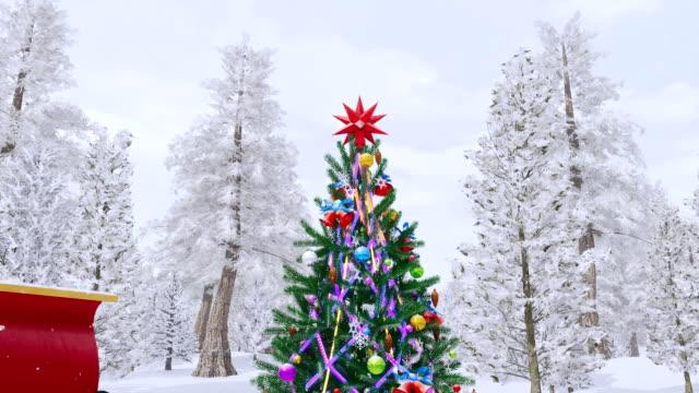 Sexy blonde girl in Santa costume near outdoor Xmas tree video