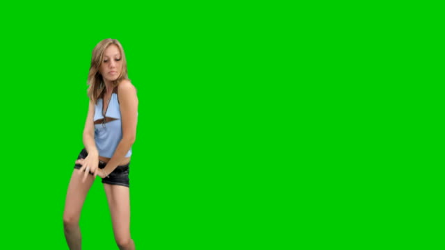 Sexy dancing girl on chroma key video