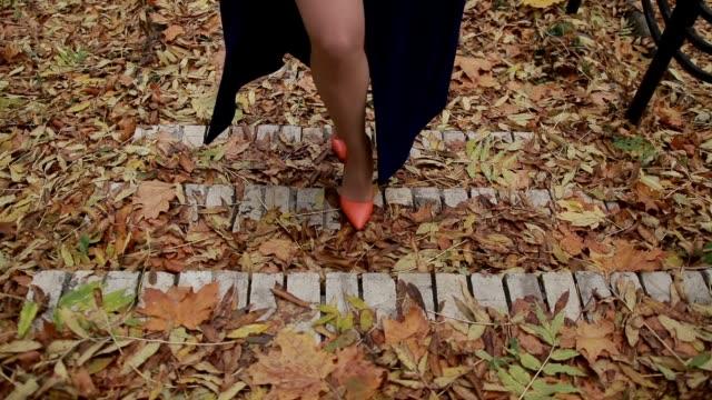 Sexy female legs in high heels walking up stairs video
