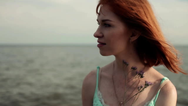 Sexy Girl With A Flower On The Sea Stock Video Download Video