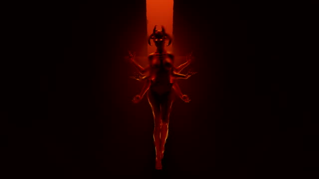 Sexy Multi-Armed Devil Woman floating in a fiery inferno Sexy Multi-Armed Devil Woman floating in a fiery inferno 3d Animation illustration vampire stock videos & royalty-free footage