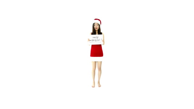sexy santa claus isolated on white looking for help video