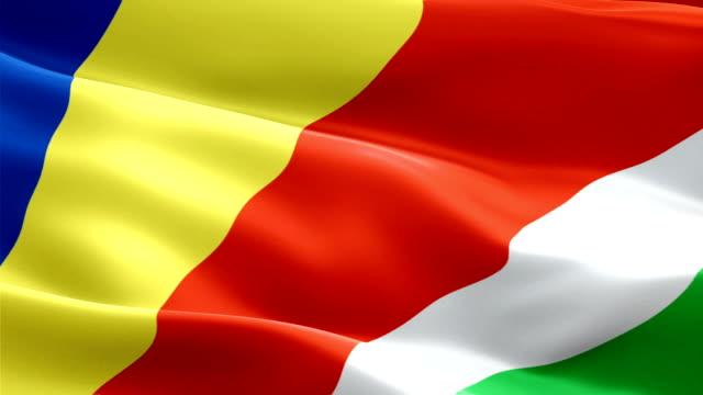 seychelles island waving flag. national 3d seychellois flag waving. sign of seychelles seamless loop animation. seychelle flag hd resolution background. seashell islands flag closeup 1080p full hd video for presentation - kiss filmów i materiałów b-roll