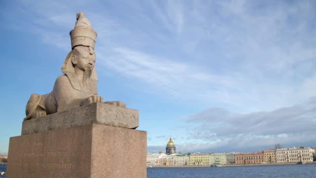 Sfinks in Saint Petersburg day motion timelapse video