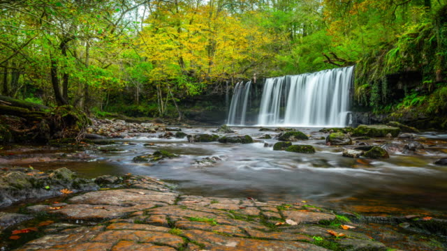 Sgwd Ddwli Uchaf (Upper Gushing falls) in Wales - Time Lapse Tracking Shot