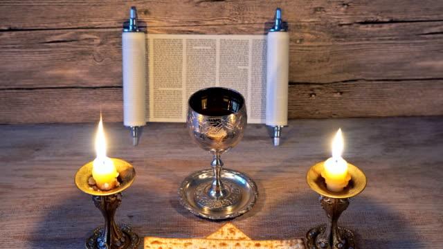 Shabbat Shalom - Traditional Jewish Sabbath ritual matzot bread, wine jewish holiday celebration video