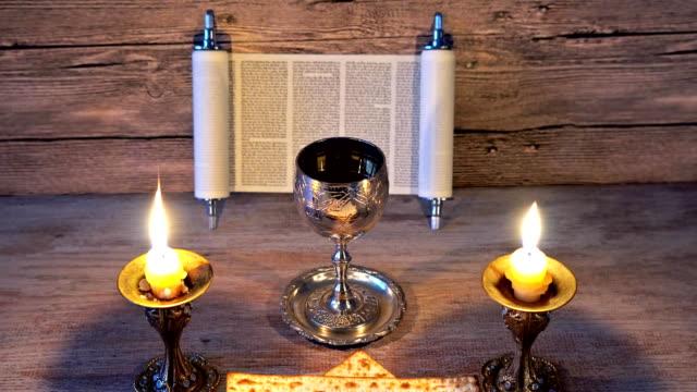 Shabbat Shalom Traditional Jewish Sabbath ritual matzot bread, wine video