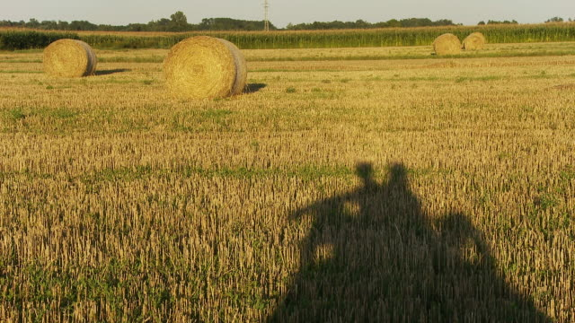 HD: Shadow Of Couple Sitting On Hay Bale video