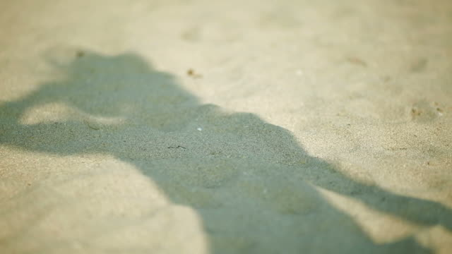 Shadow of woman on the sand at beach as she moves around and plays with hat video