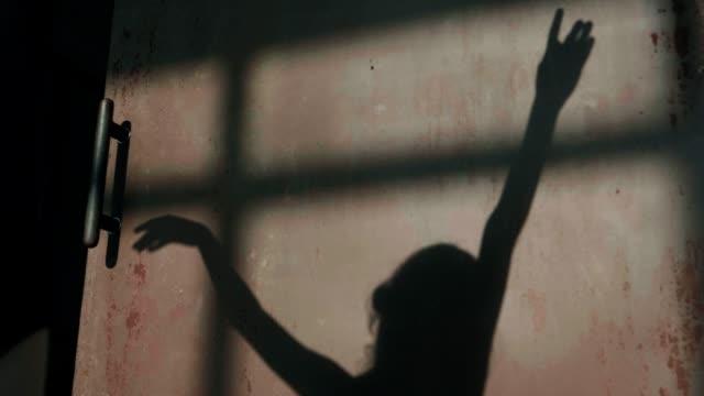 スタジオで壁に練習しながら手を動かす若い女の子バレリーナの影-ストックビデオ - バレリーナ点の映像素材/bロール
