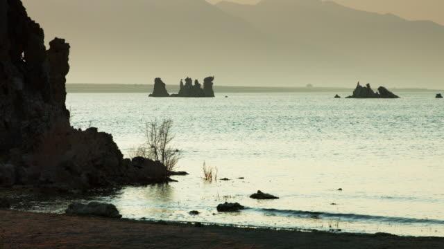 Shadowy Tufa and Mountains at Mono Lake video