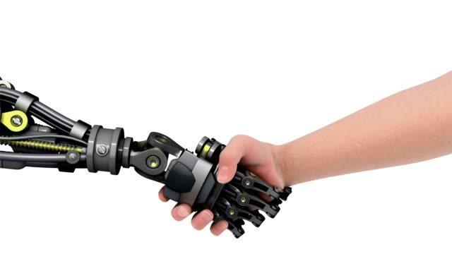 Shake hands with a robot. video