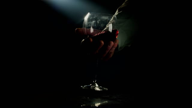 Shaking large glass of red wine for a better tasting experience video