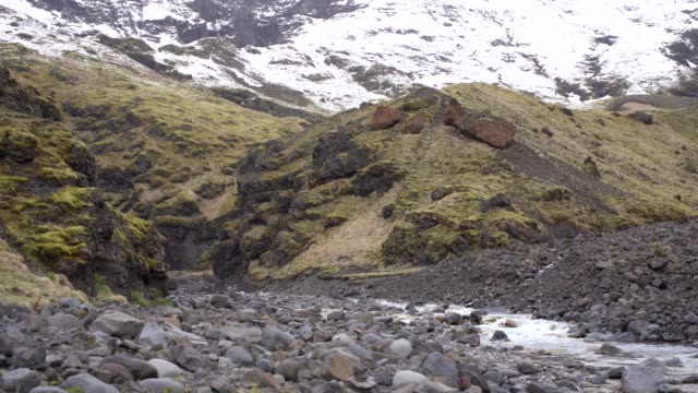 a shallow mountain river flows against a mountain with yellow grass in iceland. - poco profondo video stock e b–roll