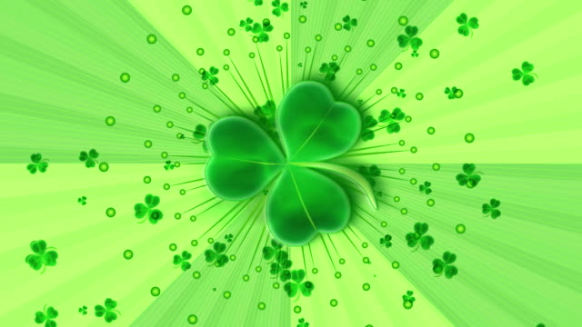 stockvideo's en b-roll-footage met shamrock explosion - klavertje vier