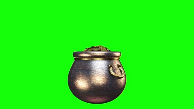 Shamrock. St. Patrick's Day symbols pot of gold background. Patrick Day coins with shamrock leaf. Patrick Day pub party. Alpha channel